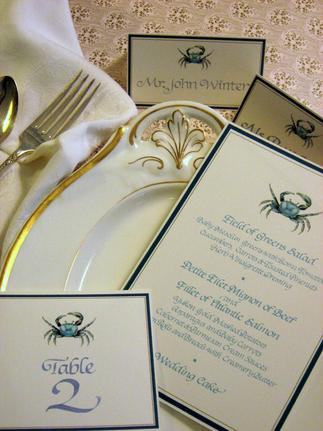 Calligraphy for weddings and special events including menus, invitations, place cards, table cards and envelope addressing