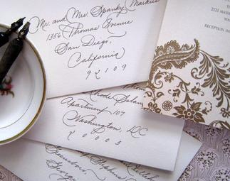 Guest list for lettering envelopes for weddings